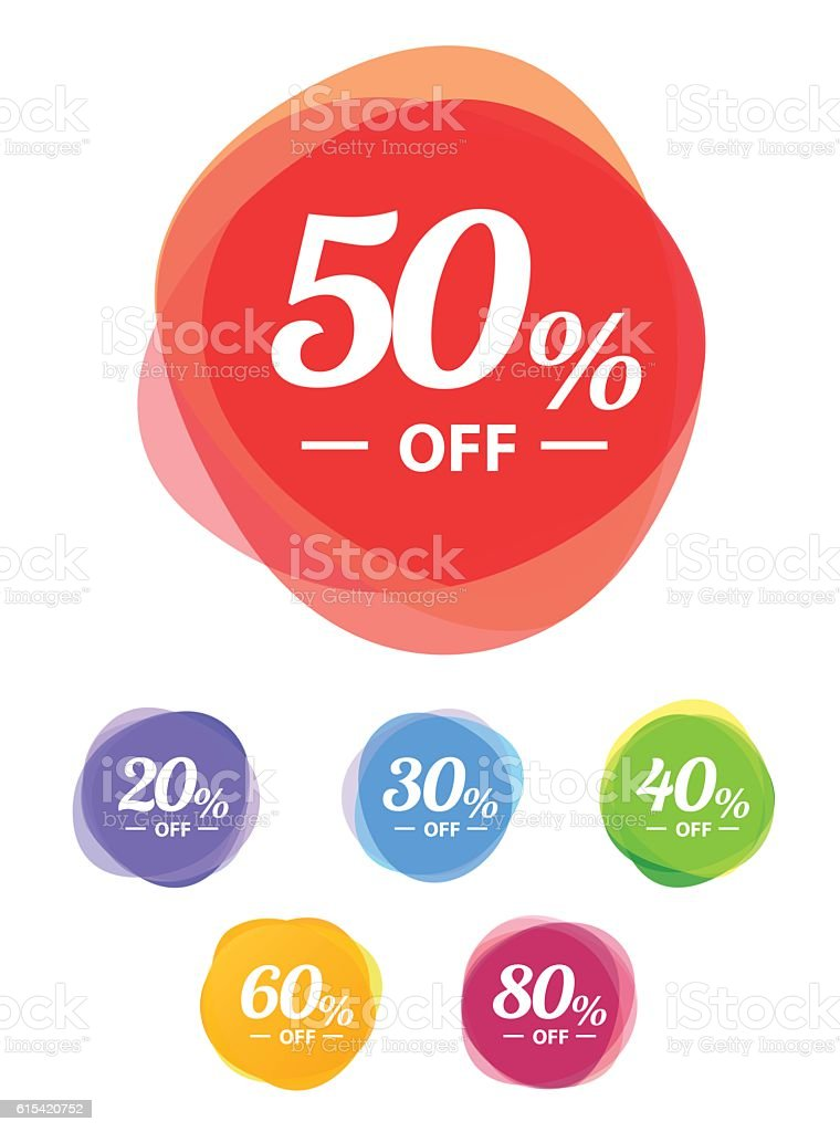 Colorful vector sale tags. Best price vector art illustration