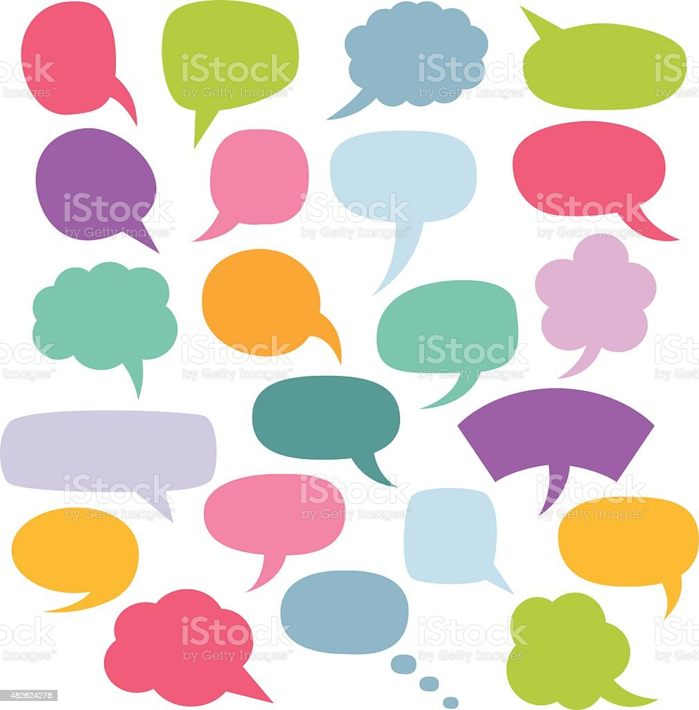 Colorful vector speech bubbles set vector art illustration