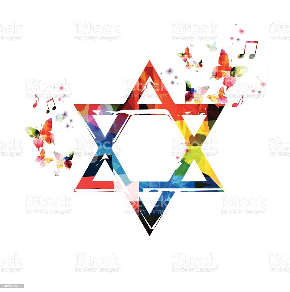 Colorful vector Star of David symbol with butterflies vector art illustration