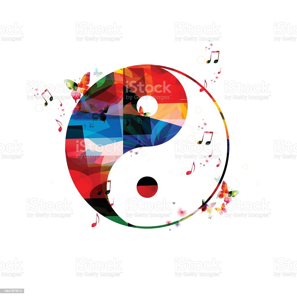 Colorful vector ying yang background with butterflies vector art illustration