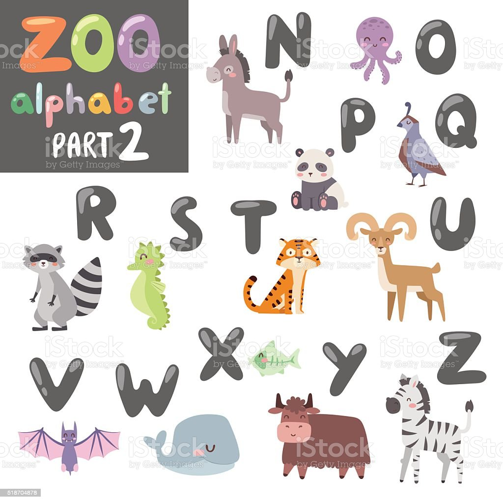 Colorful vector zoo english alphabet with cartoon animals isolated on vector art illustration