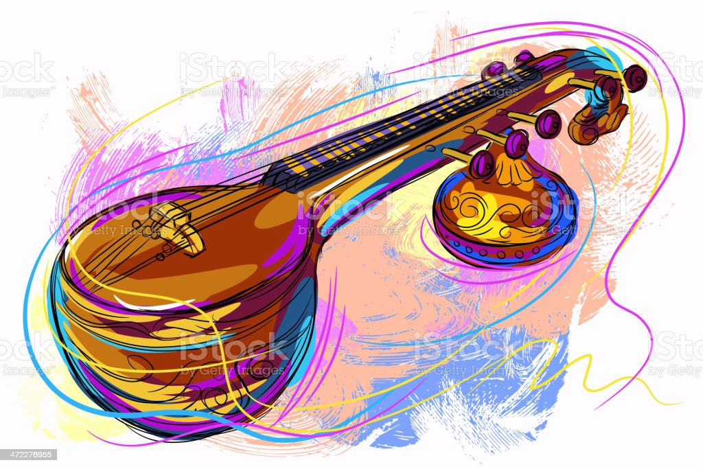 Colorful Veena vector art illustration