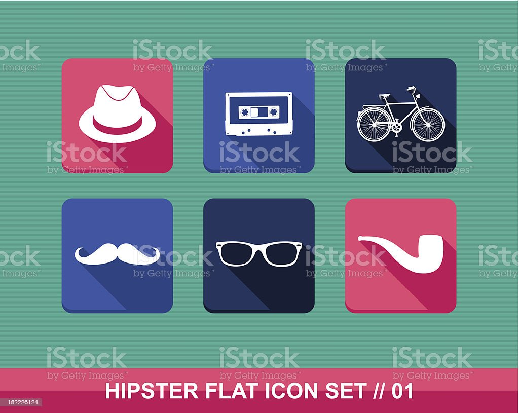 Colorful vintage hipster fashion elements flat icon set EPS10 file vector art illustration