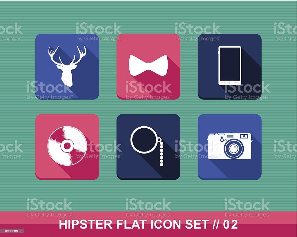 Colorful vintage hipster fashion elements flat icon set EPS10 file. vector art illustration