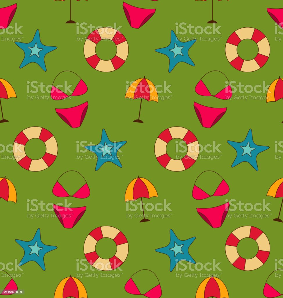 Colorful Vintage Seamless Wallpaper with Summer Beach Objects vector art illustration