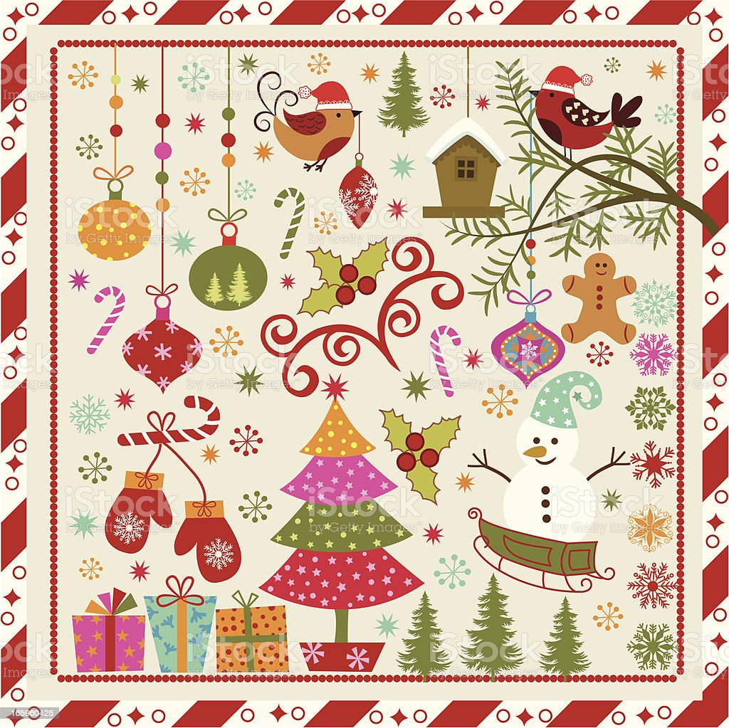 Colorful vintage style animated Christmas graphic royalty-free stock vector art