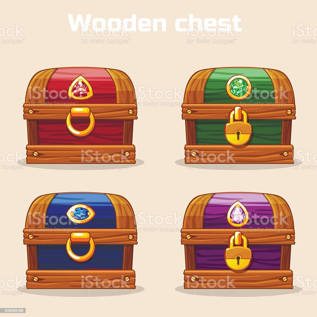 colorful vintage wooden chest with diamonds vector art illustration