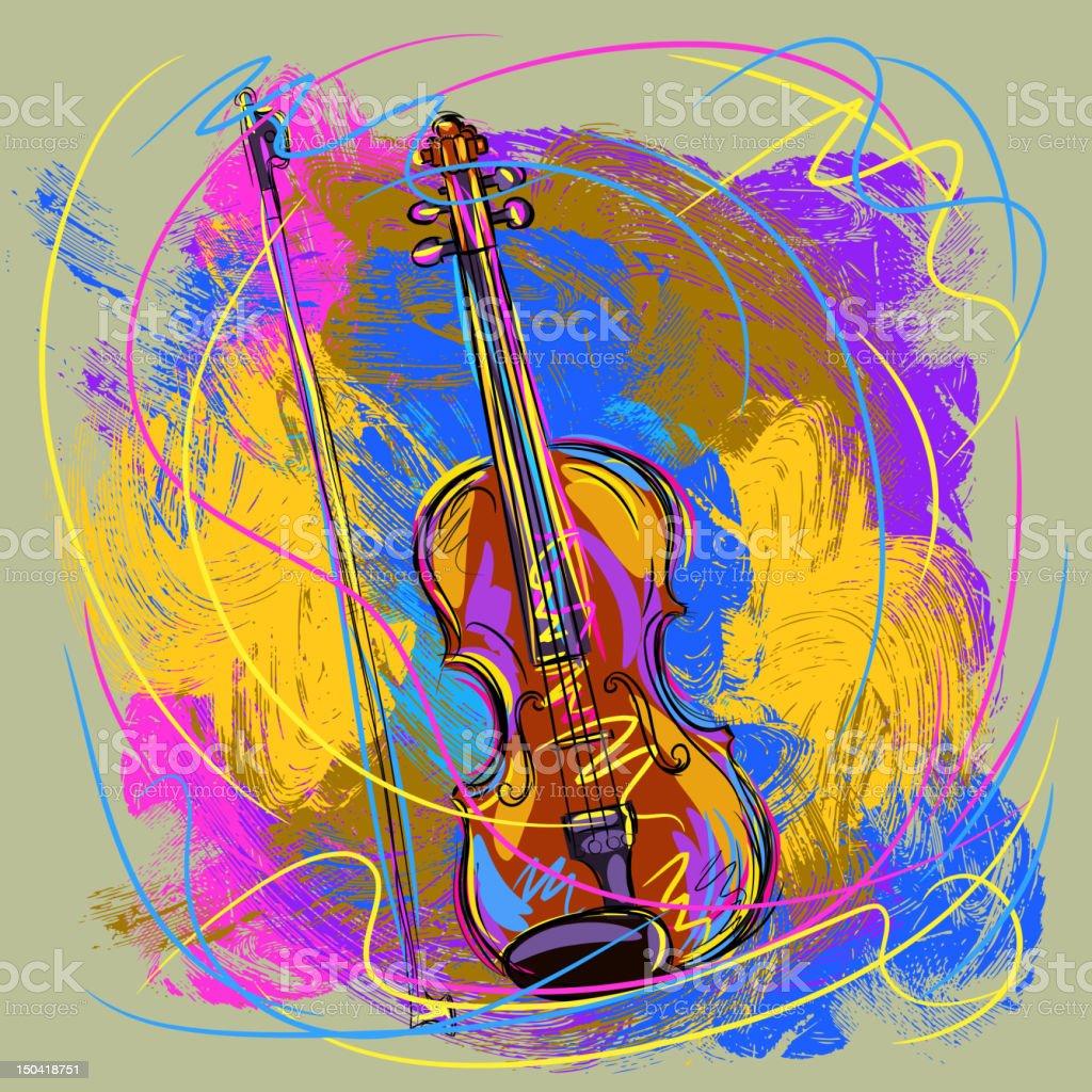 Colorful Violin royalty-free stock vector art