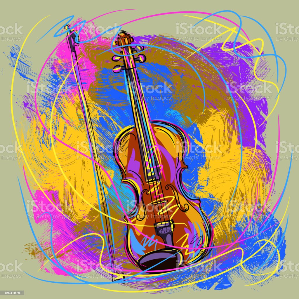 Colorful Violin vector art illustration
