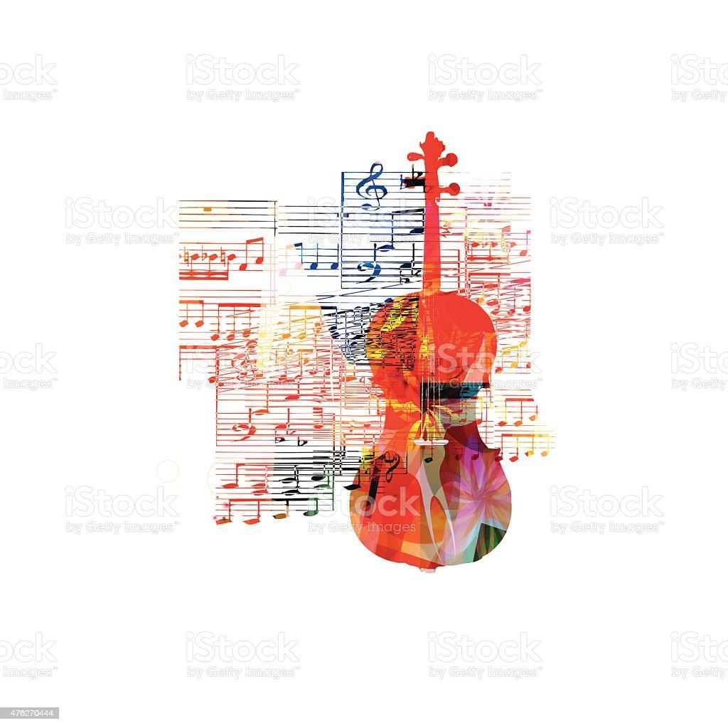 Colorful violoncello design vector art illustration