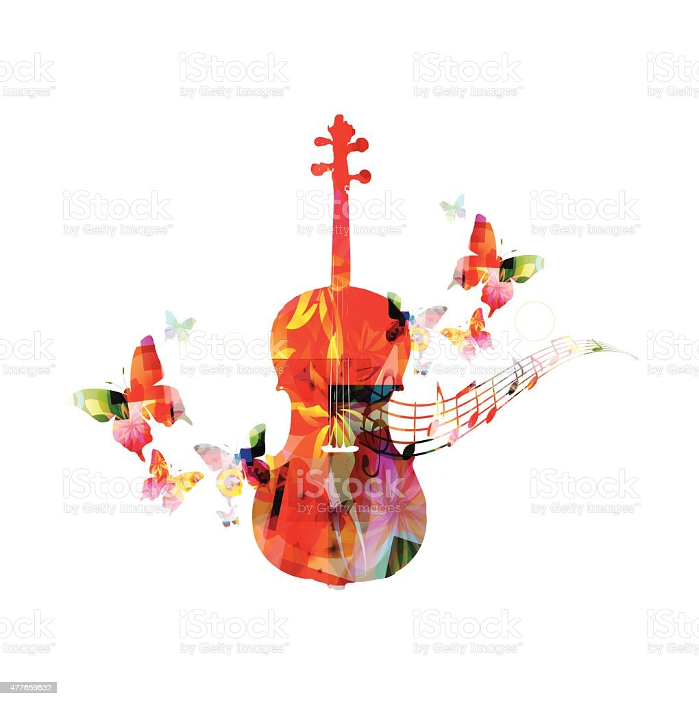 Colorful violoncello with butterflies vector art illustration