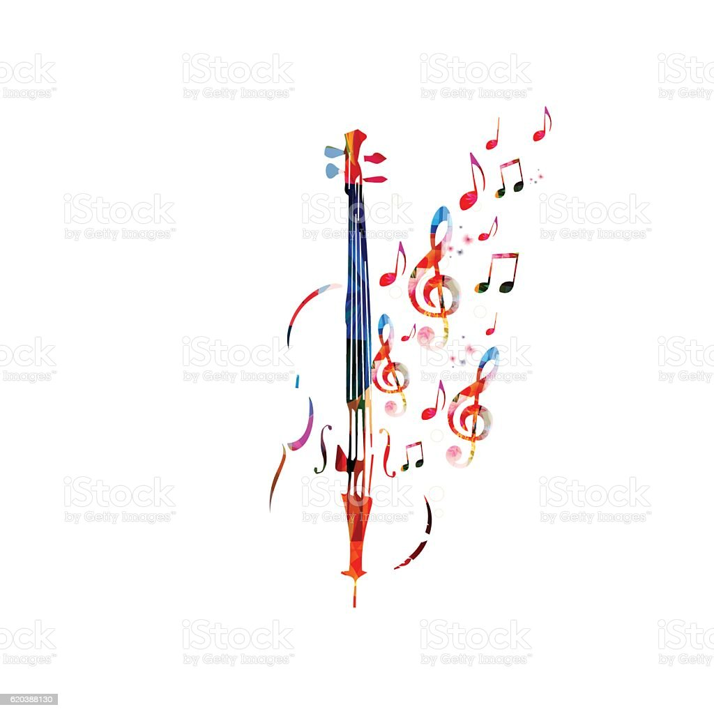 Colorful violoncello with music notes vector art illustration