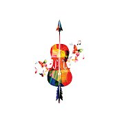 Colorful violoncello with music notes vector illustration