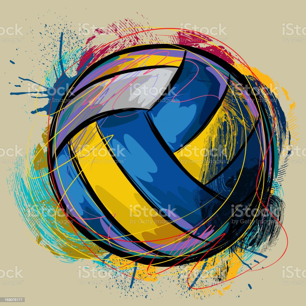 Colorful Volleyball vector art illustration