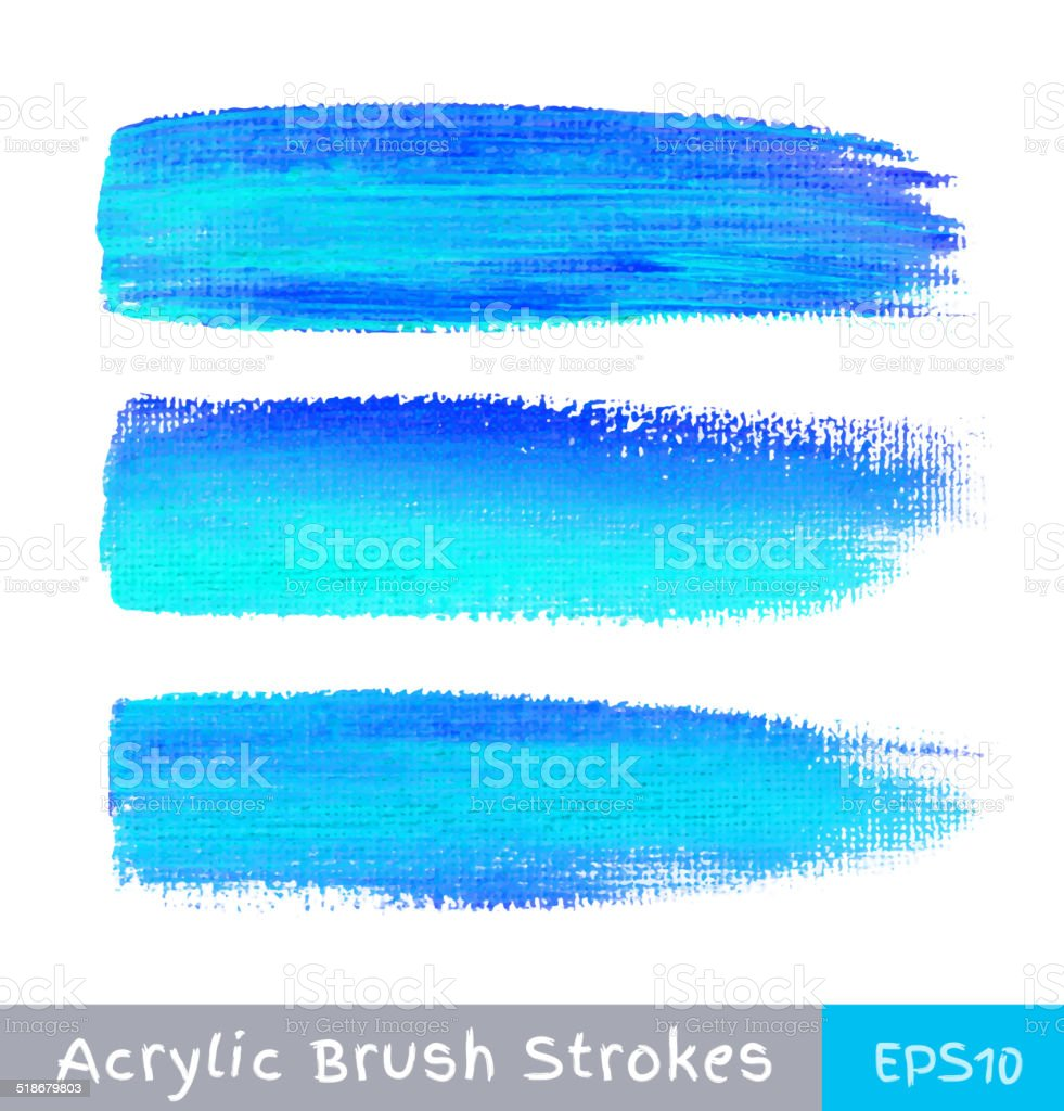 Colorful watercolor brush strokes on canvas vector art illustration