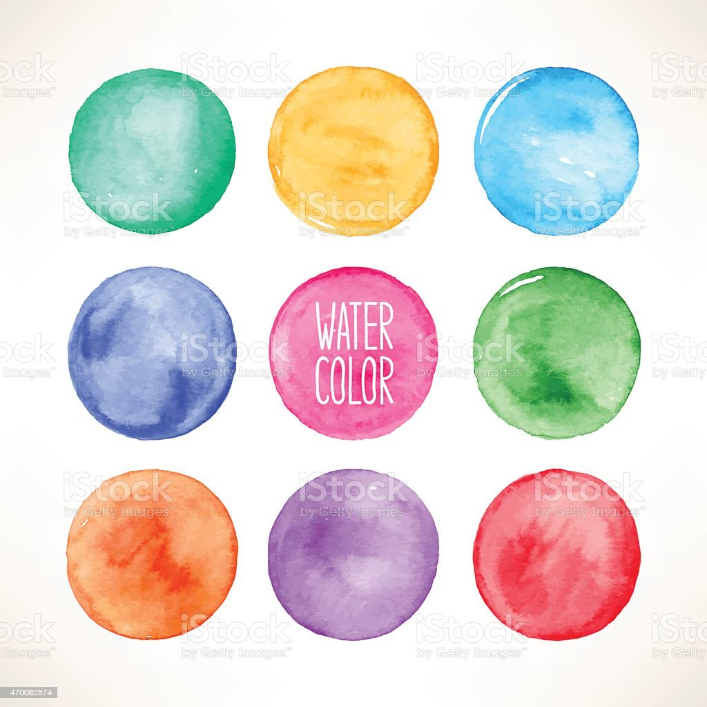 colorful watercolor round spots vector art illustration