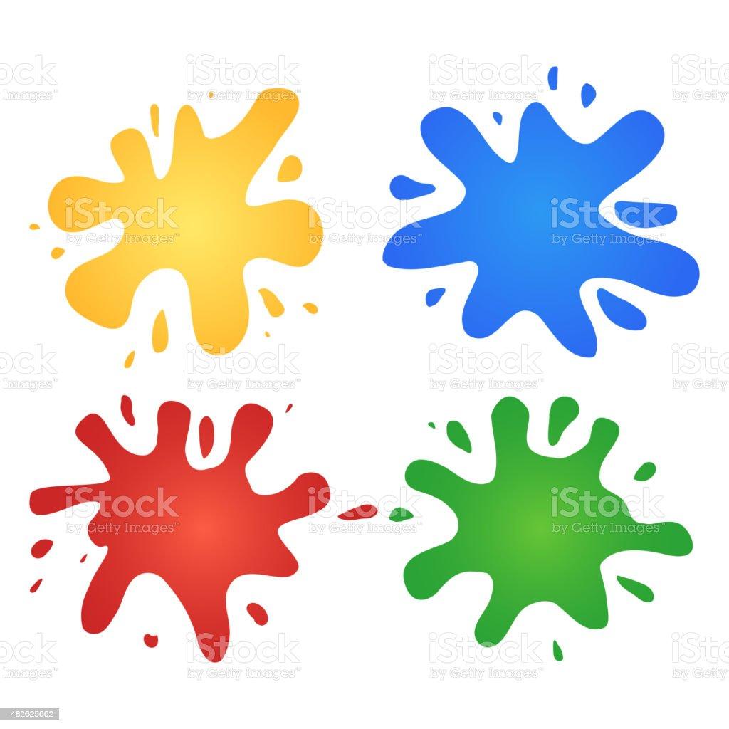 Colorful watercolor splashes vector art illustration