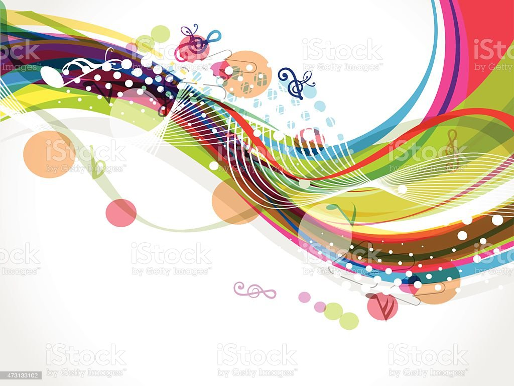 colorful wave background with musical notes vector art illustration