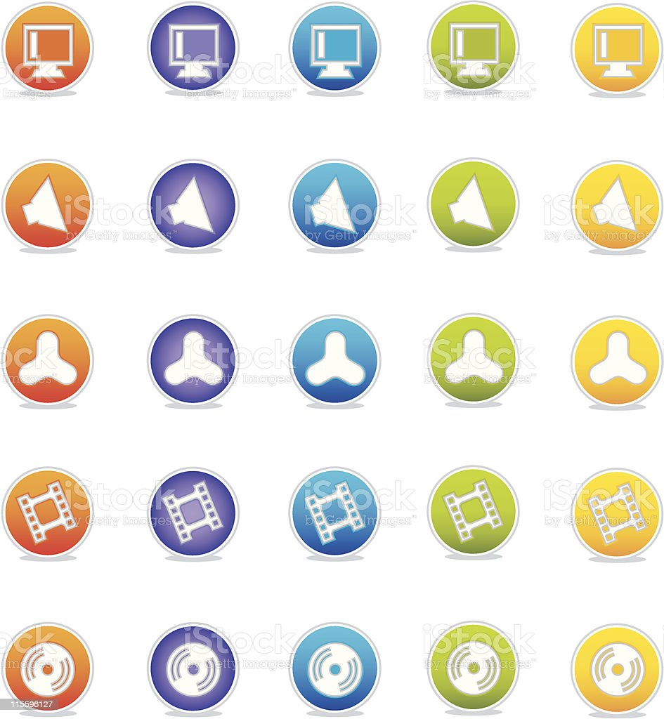 Colorful Web Icons vector art illustration