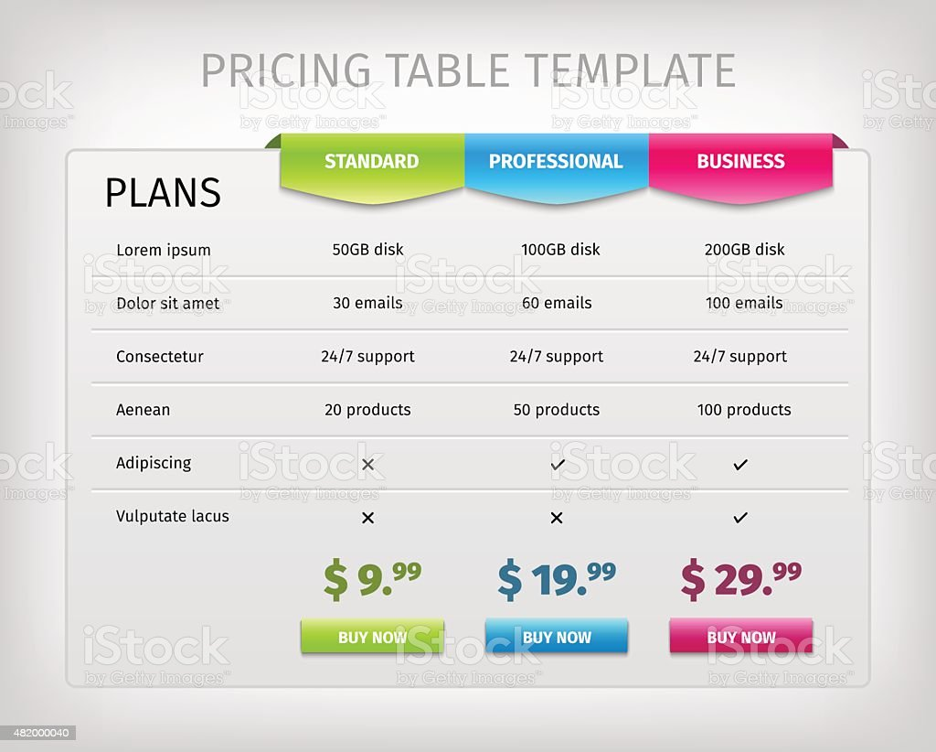 Colorful web pricing table template for business plan vector art illustration