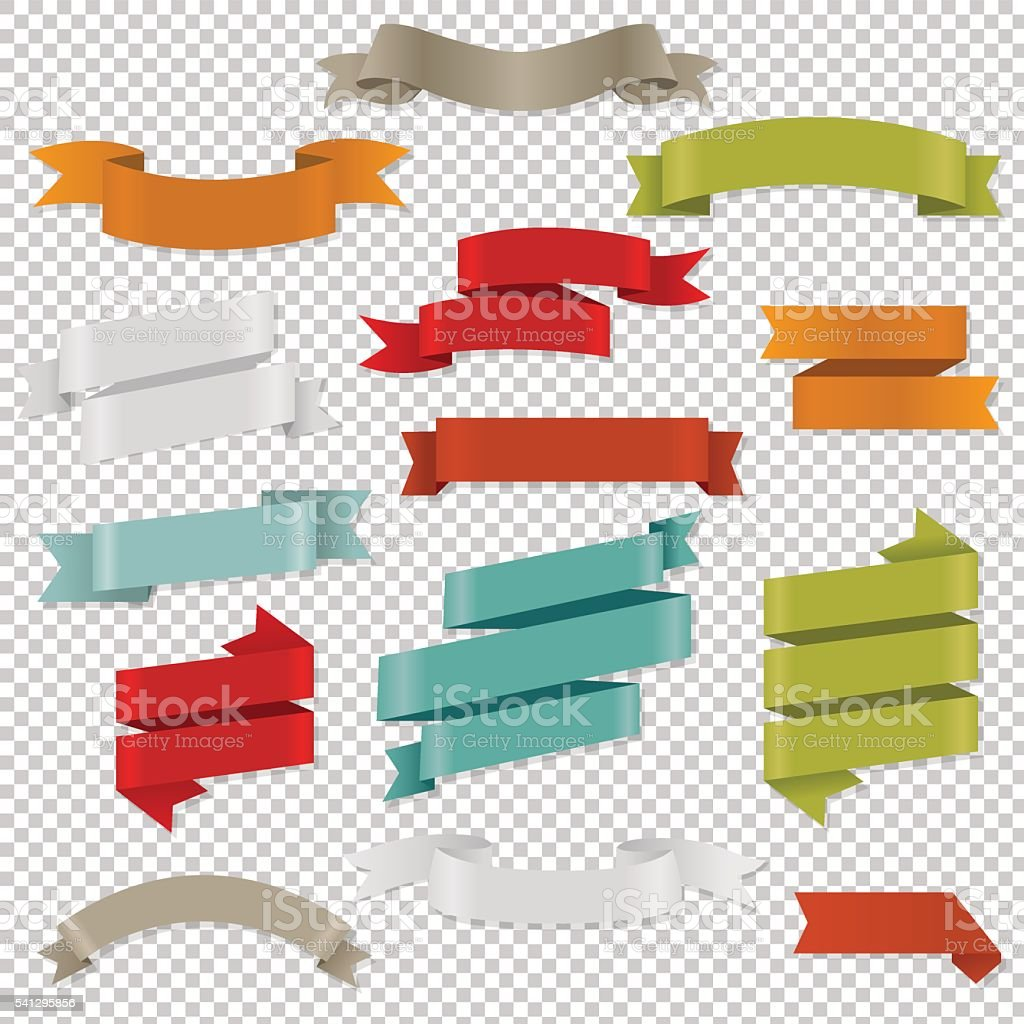 Colorful Web Ribbons Set vector art illustration