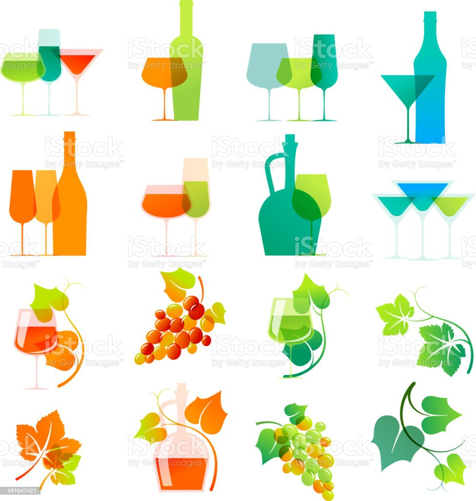 Colorful wine icons royalty-free stock vector art
