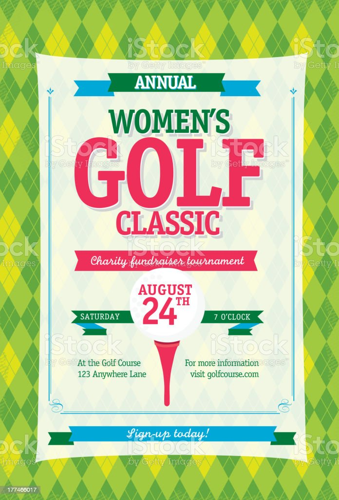 Colorful Women's Golf tournament invitation design template on argyle background royalty-free stock vector art