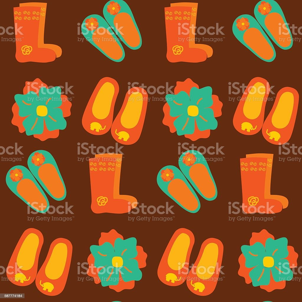 Colorful wool slippers and boots seamless pattern vector art illustration