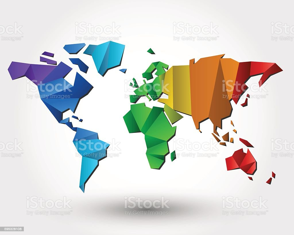colorful world map vector art illustration