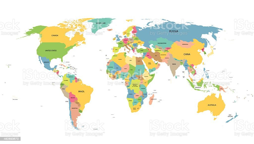 colorful world map with names of all countries vector art illustration