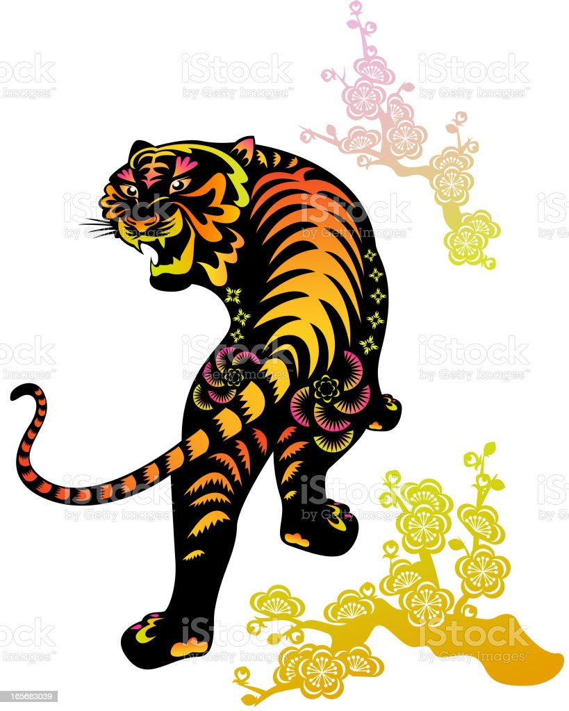 Colorful Year of The Tiger Paper-cut Art royalty-free stock vector art