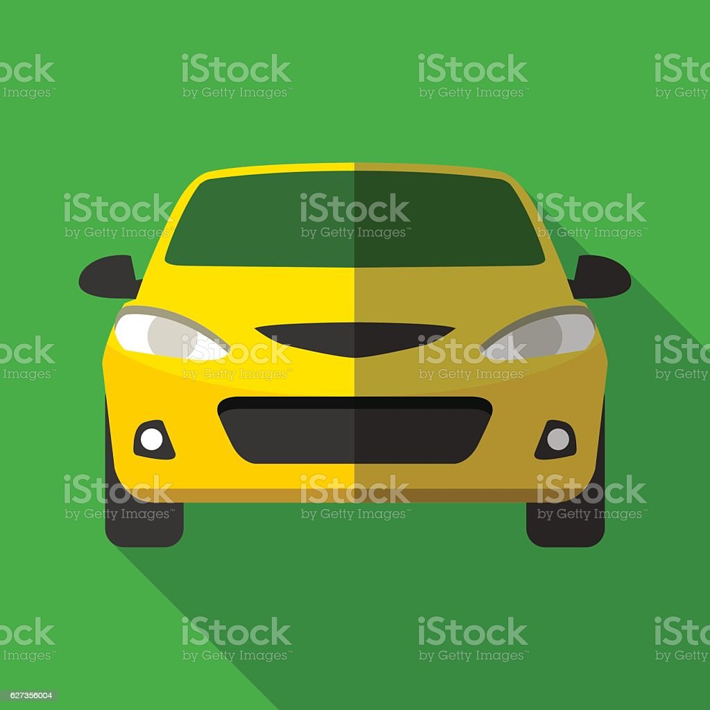 Colorful yellow taxi car icon in modern flat style vector art illustration