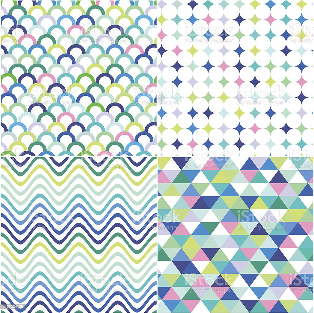 Colorful zigzag and polka dot vector background vector art illustration