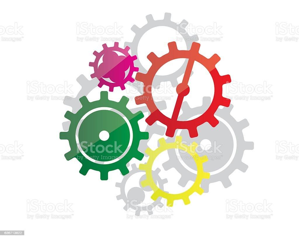 colorfull gear design vector art illustration