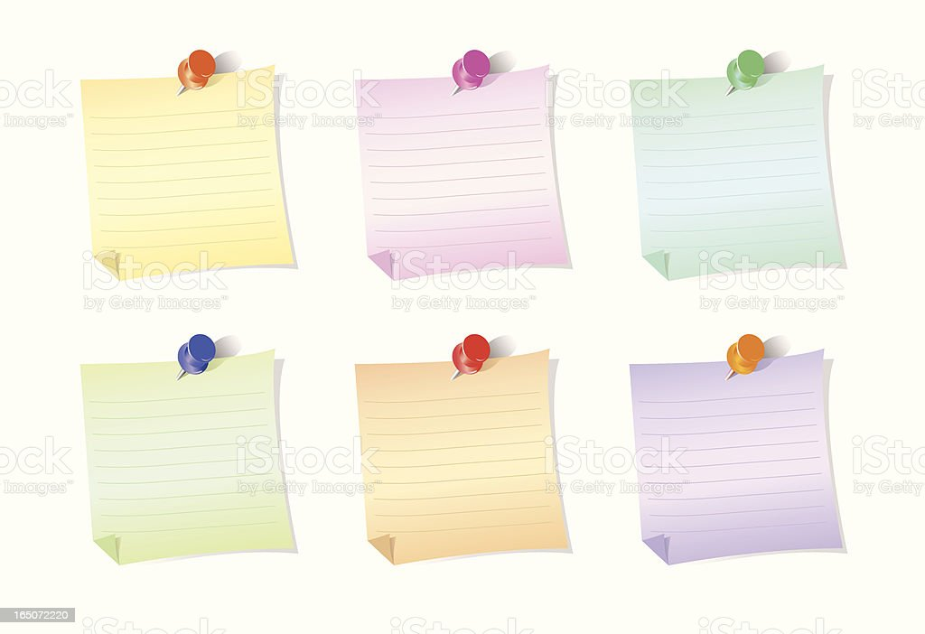 Colorfull Notes and push pins royalty-free stock vector art