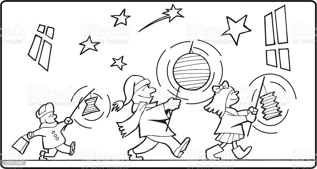 Color-in halloween procession royalty-free stock vector art