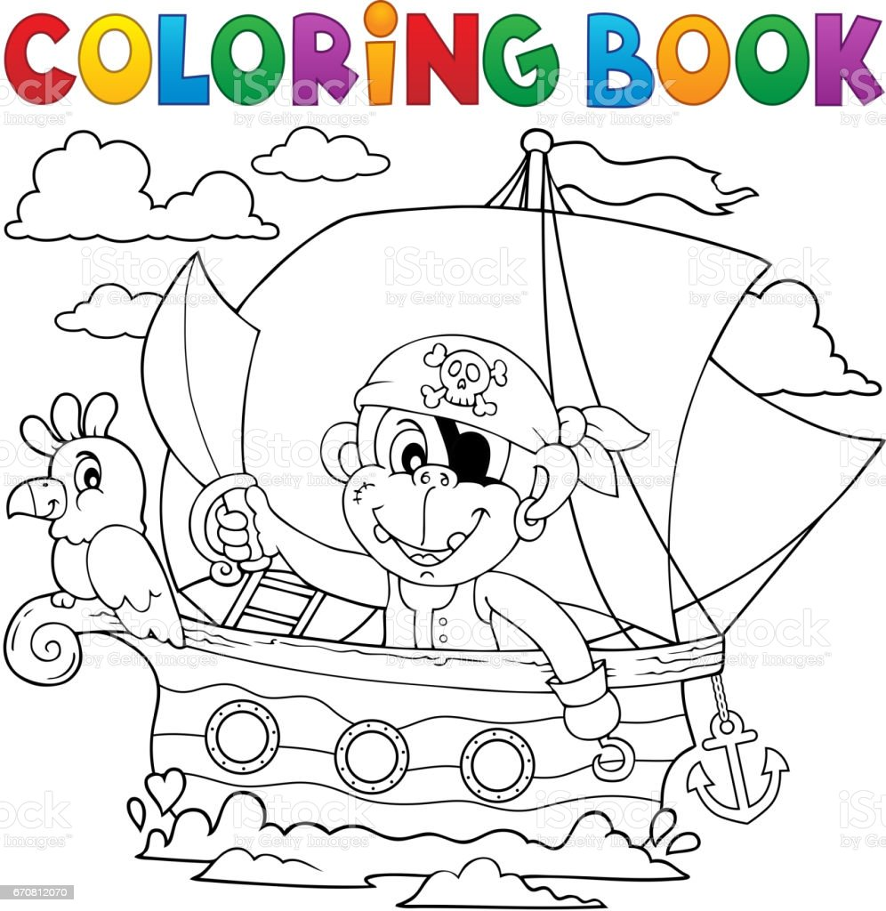 Coloring Book Boat With Pirate Monkey stock vector art 670812070 ...