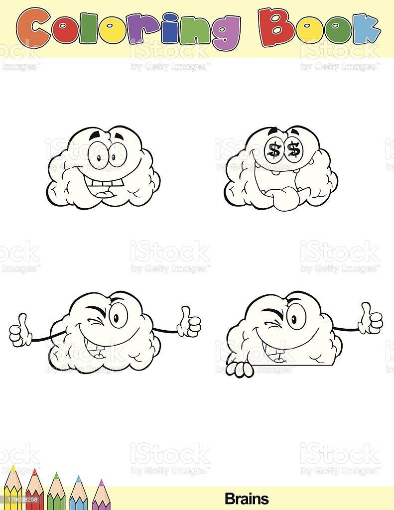 coloring book brain cartoon character royalty free stock vector art - The Human Brain Coloring Book