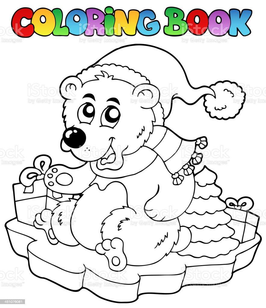 Coloring book Christmas bear royalty-free stock vector art