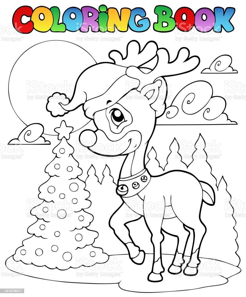 Coloring book Christmas deer 1 royalty-free stock vector art