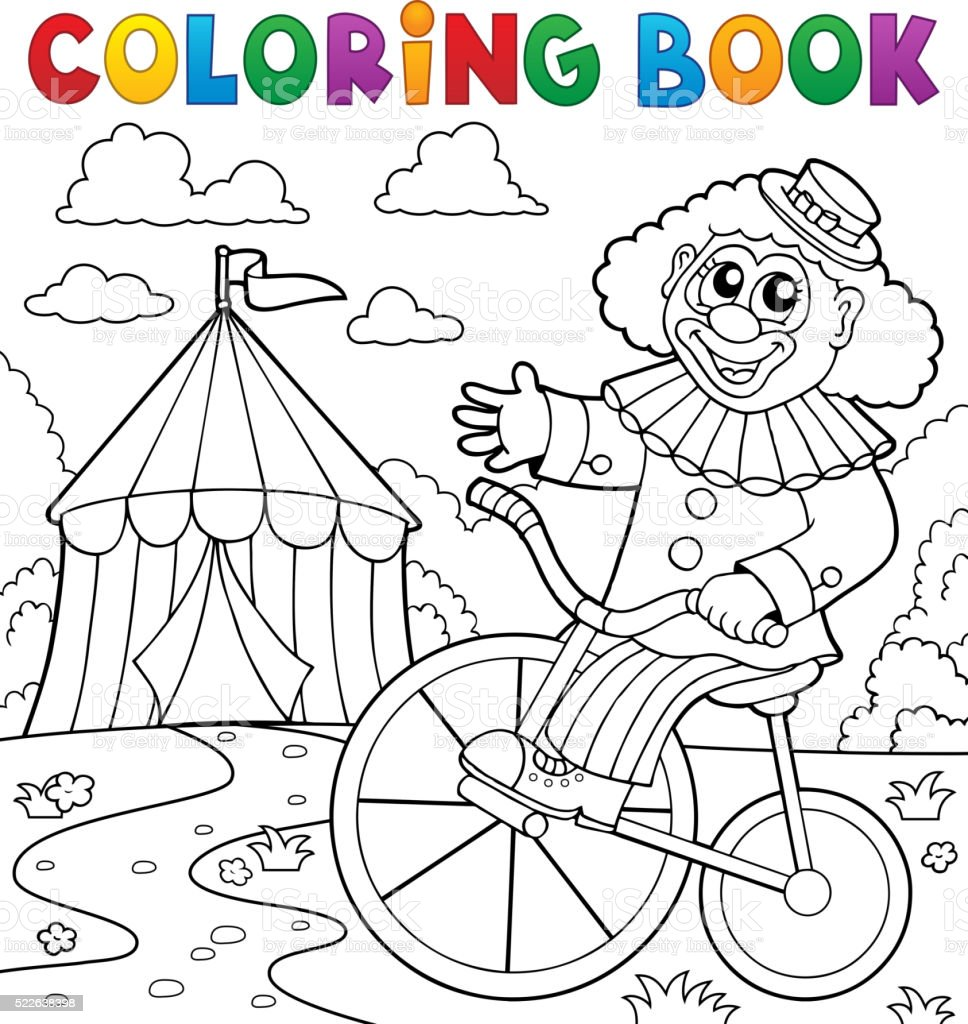 Coloring book clown near circus theme 3 vector art illustration