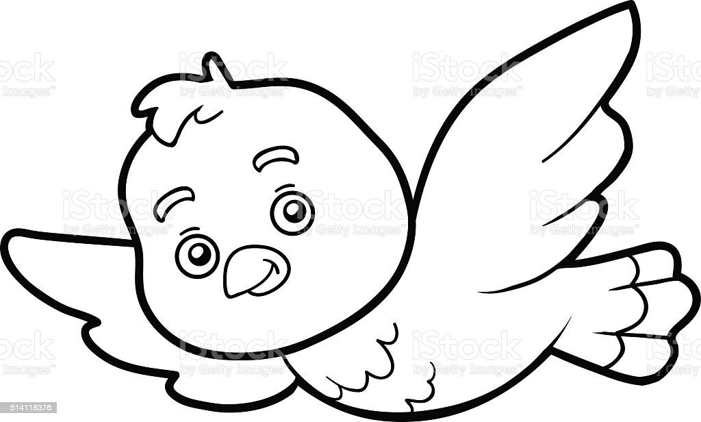 Coloring book, coloring page (bird) vector art illustration