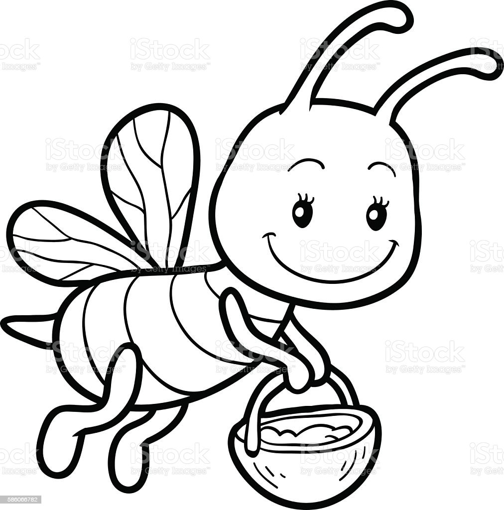 coloring book coloring page with a small bee stock vector art