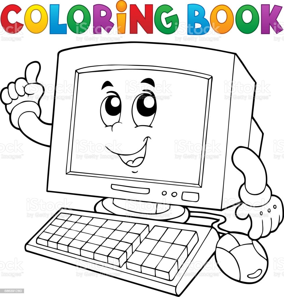 Coloring book computer thematics 1 vector art illustration