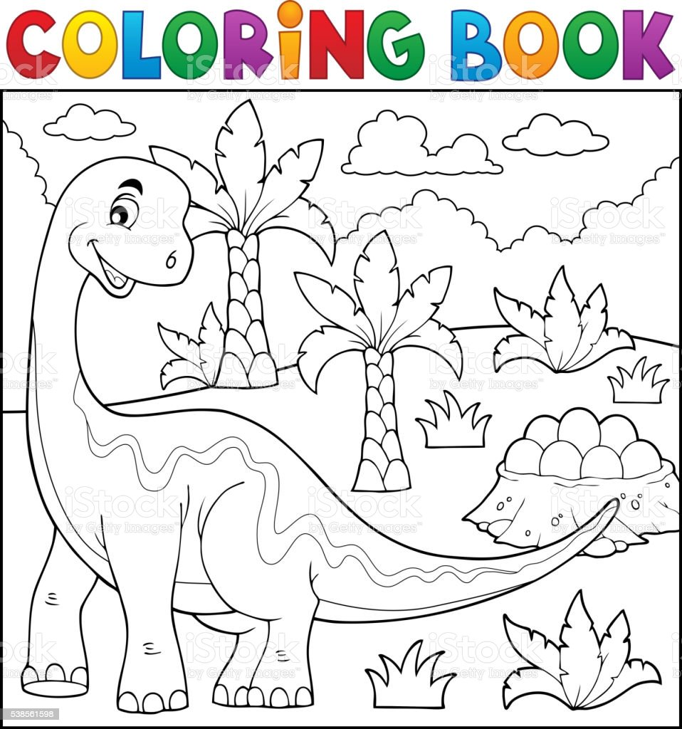 Coloring book dinosaur topic 6 vector art illustration