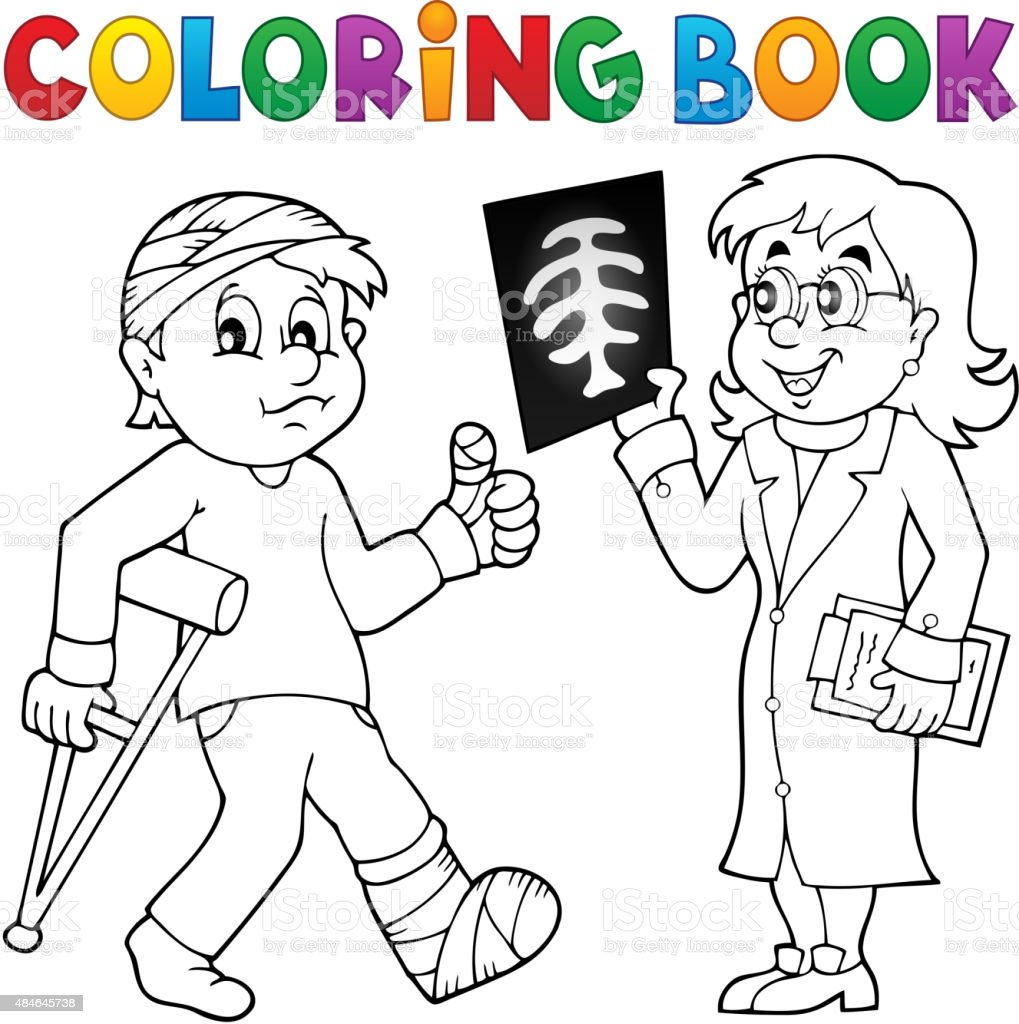 Coloring book doctor attending patient vector art illustration