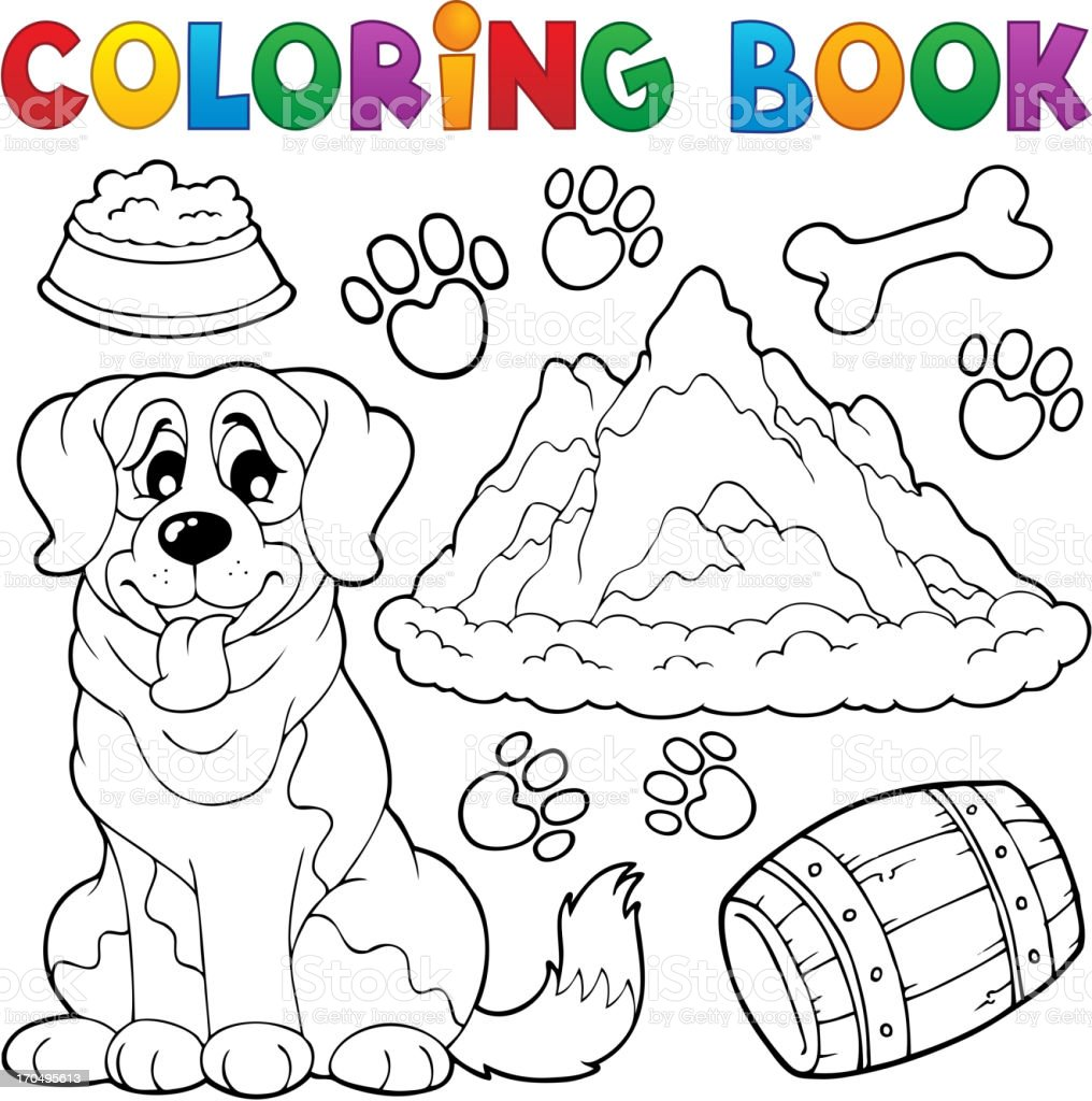 Coloring book dog theme 7 royalty-free stock vector art