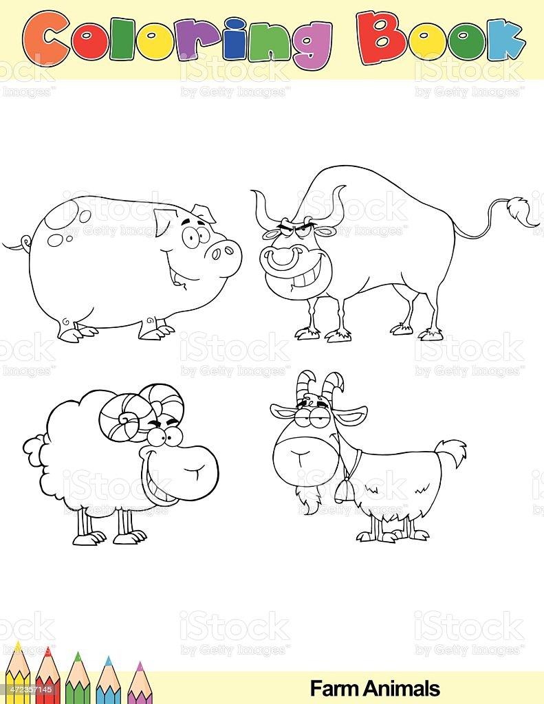 Coloring Book Farm Animals Cartoon Characters royalty-free stock vector art