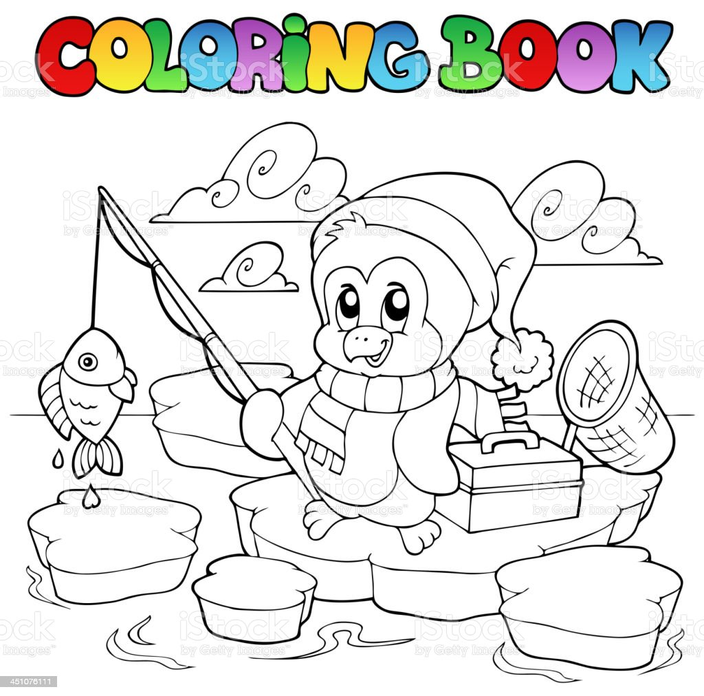 Coloring book fishing penguin royalty-free stock vector art