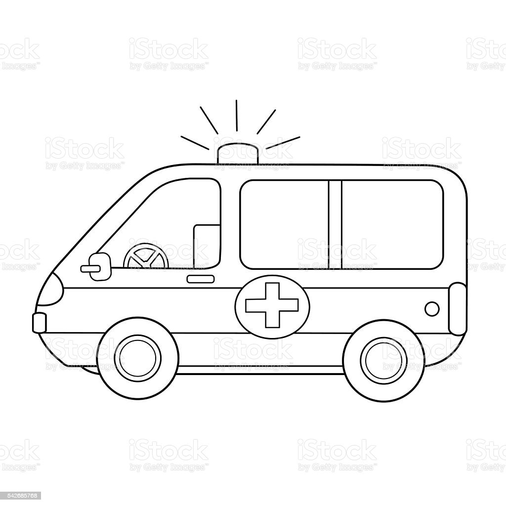 Childrens hospital coloring book - Coloring Book For Children Ambulance Car Royalty Free Stock Vector Art
